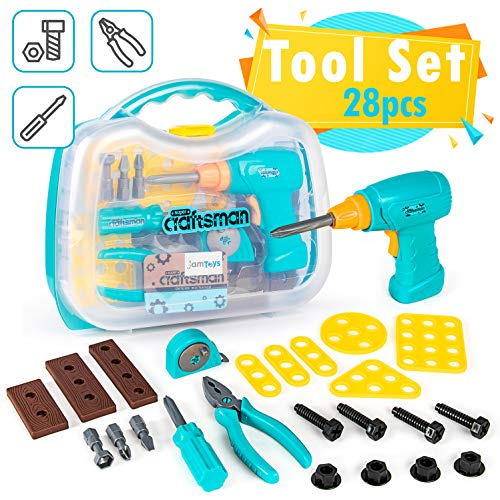 Kids Tool Set with Functioning Toy Drill and Storage Case - Fun Pretend Play Tool Kit for Boys, Girls, Toddlers - Great Birthday Idea (28-Pieces)