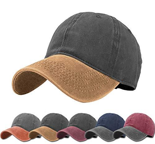 Aedvoouer Men Women Baseball Cap Vintage Cotton Washed Distressed Hats Twill Plain Adjustable Dad-Hat (Dark Grey+Yellow)
