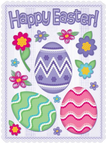 """Holographic Foil Easter Clings 12"""" x 17"""" Reusable Vinyl Static Window Cling Cutouts - Glitzy Happy Easter Eggs"""