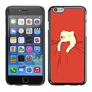 Polar Bear Kids Dulce Roja Noche linda - Metal de aluminio y de plástico duro Caja del teléfono - Negro - Apple (5.5 inches!!!) iPhone 6+ Plus / 6S+ Plus