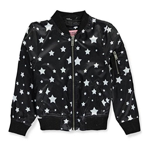 Urban Republic Big Girls Black Star Pattern Weather-Resistant Flight Jacket 8-16