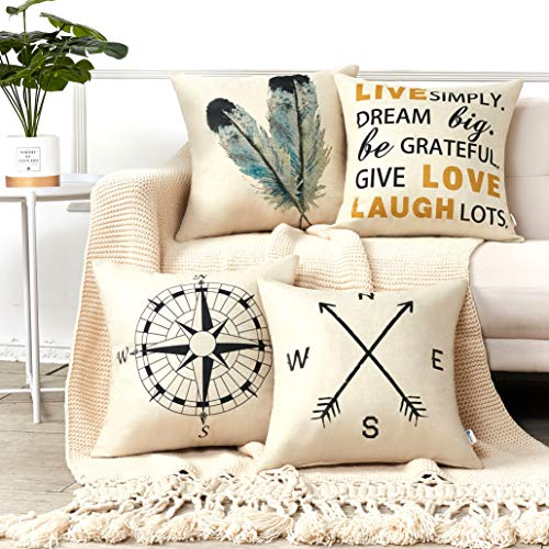 Anickal Decorative Throw Pillow Covers 18x18 Inches Set of 4 Cotton Linen Compass Arrow Feather Live Love Laugh Quote Couch Pillow Covers for Modern Simple Farmhouse Style Decor (Clearance Throw Pillows)