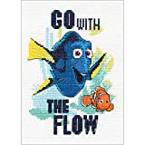 2 Item Bundle: Finding Dory Go with The Flow Cross Stitch Kit and 5 x 7 Adhesive Mounting Board