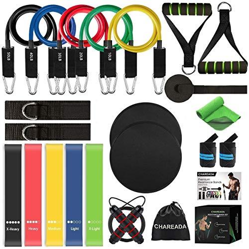23 Pack Resistance Bands Set Workout Bands, 5 Stackable Exercise Bands 5 Loop Resistance Bands 2 Core Sliders – Door…