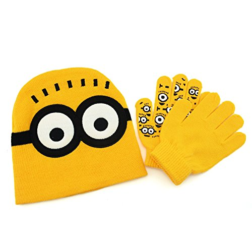 Minions Beanie Two Eyes Knit Hat & Gloves Set - Minions