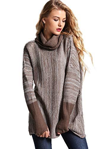 SweatyRocks Women's Loose Knitted Turtleneck Long Sleeve Pullover Sweater Jumper Brown XL