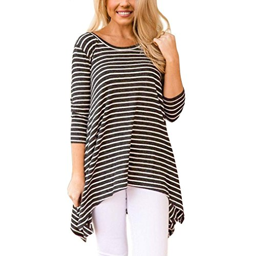 Price comparison product image Clearance Sale! Wintialy Women Ladies Long Sleeve Stripe Irregular Hem Round Neck Casual Tops Blouse Tee