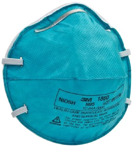 3M 1860 N95 Health Care Particulate Cup Respirator and Surgical Mask, Standard, ASTM F1862, Blue (6 Cases of 20)