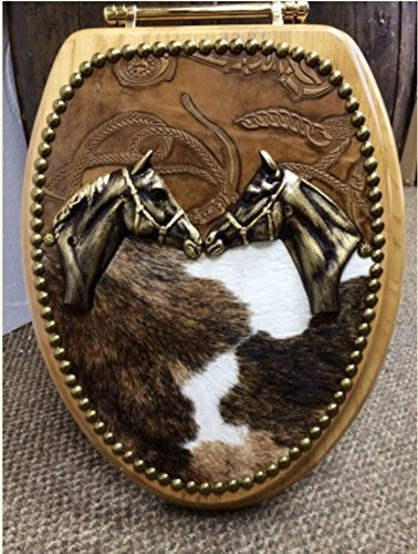 Cowboy Cowhide & Leather Western Decor Horse LOVERS Oak Toilet Seat Cover by Signature Cowboy Studio
