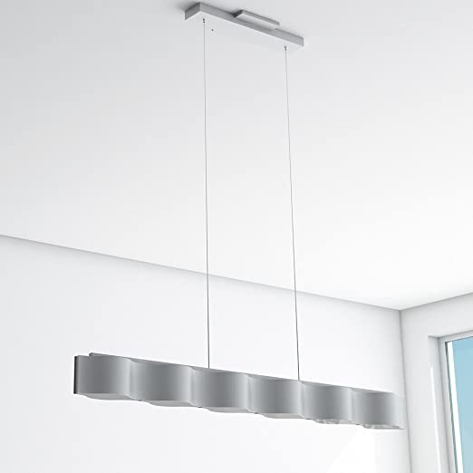 Vonn vmc32100al modern led linear chandelier lighting with adjustable hanging light silver amazon com