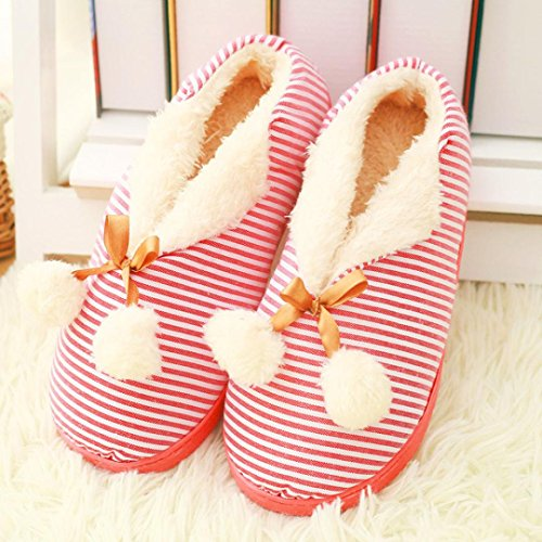 Ama (tm) Donna Casa Pantofole Coperte Scarpe Hairball Inverno Caldo Scarpe Da Ginnastica Rosse