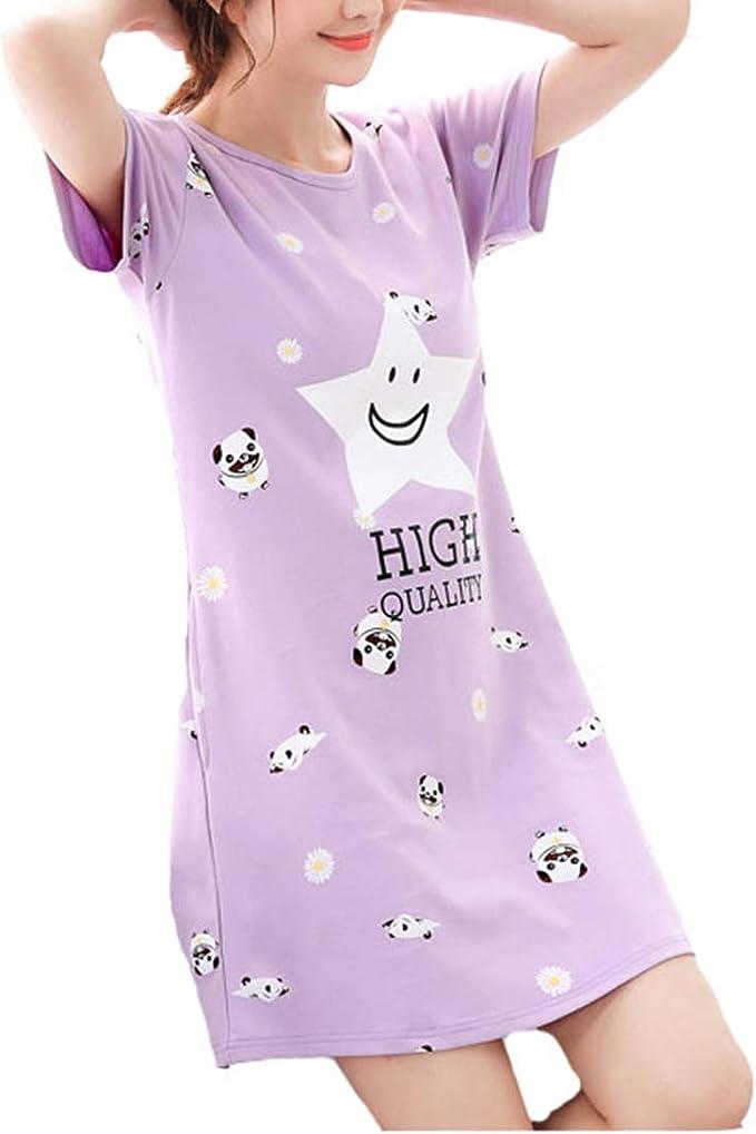 Camisón Mujer Verano Mangas Cortas Elegantes Moda Impresa Pijama ...