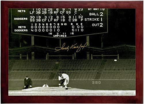 (Sandy Koufax Autograph Replica Super Print - Dodger Stadium No Hitter - Landscape - Framed)