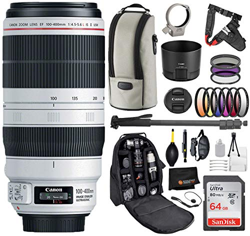 Canon EF 100-400mm f/4.5-5.6L is II USM Lens with Professional Bundle Package Deal Kit for EOS 7D Mark II, 6D Mark II, 5D Mark IV, 5D S R, 5D S, 5D Mark III, 80D, 70D, 77D, T5, T6, T6s, T7i, SL2