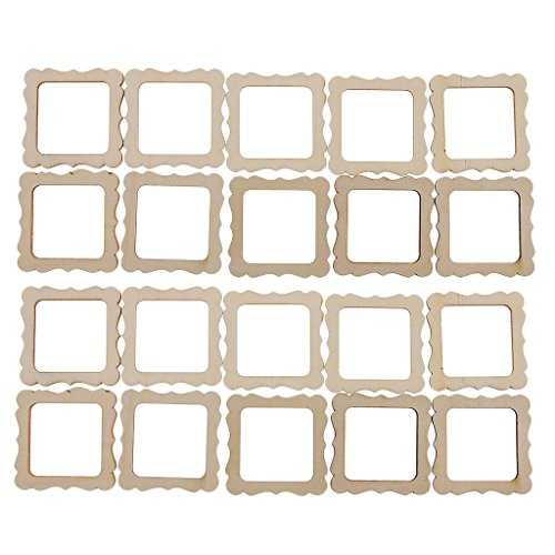 Homyl 20 Pieces 50x50mm Square Wooden Shape Vintage DIY Cutouts Wooden Frame Mini Photo Frame for Scrapbooking Crafting DIY Wind Chimes Wedding Home Decorations (Decoupage Photo Frame)