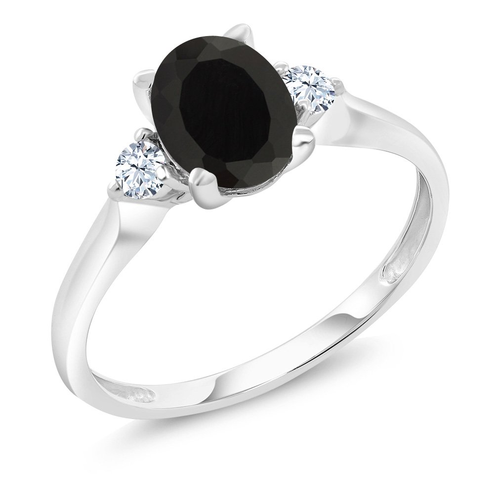 10K White Gold Black Onyx and White Created Sapphire 3-Stone Women's Ring (1.35 Ctw Available in size 5, 6, 7, 8, 9)