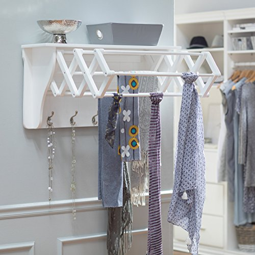 Classic White Wall Mount Clothing Drying Rack Clothes Hanger