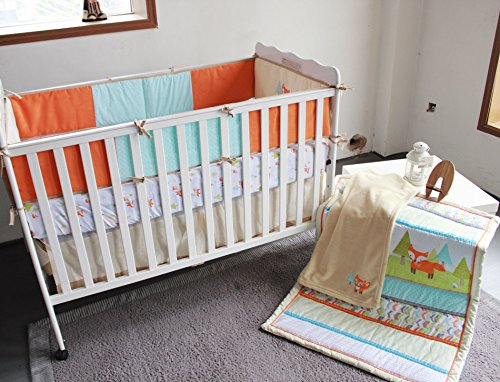 NAUGHTYBOSS Baby Bedding Set Cotton 3D Embroidery Prairie Fox Quilt Bumper Bedskirt Fitted Blanket 8 Pieces Color Matching by NAUGHTYBOSS (Image #2)