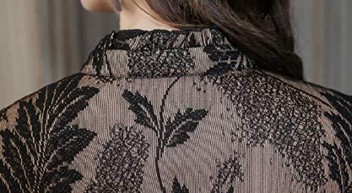 Jaycargogo Élégante Dentelle Florale Col En V Coupe Slim Femmes Manches 3/4 D'une Ligne Robe Midi Noir