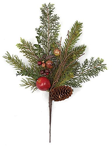 - 16 Inch Mixed Spray with Pine Cones, Apples, Berries Autograph Foliages