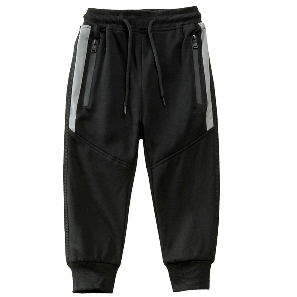 Kids Boy Sweatpants Cotton Jogger Athletic Pants Drawstring Sports Trousers Black 110 Size 4T