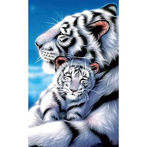 (HOT Sale! 5D Diamond DIY Painting, Full Drill Handmade White Tiger Mother Child Under Moonlight Starry Sky Cross Stitch Home Decor Embroidery Kit Brahmerth (Tiger, 30x40cm))