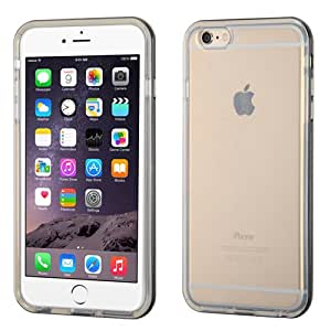 IPhone 6 Plus Solid Black Belly/Transparent Clear Glossy Candy Skin Cover (Solid Black Belly/Transparent Clear)