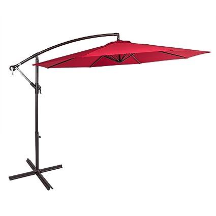 Sundale Outdoor 10 Feet Aluminum Offset Patio Umbrella With Crank And Cross  Bar Set, Cantilever