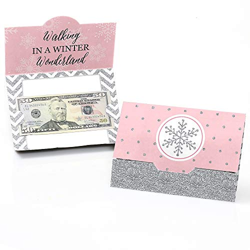Pink Winter Wonderland - Holiday Snowflake Birthday Party or Baby Shower Money and Gift Card Holders - Set of 8