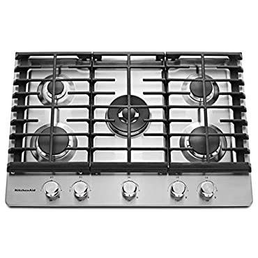 KitchenAid KCGS550ESS 30 Stainless Steel 5-Burner Gas Cooktop