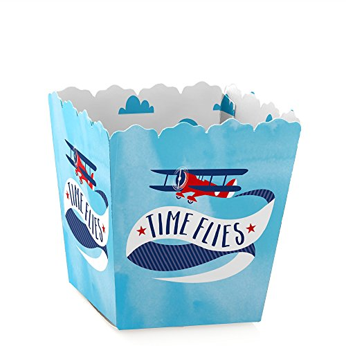 (Taking Flight - Airplane - Party Mini Favor Boxes - Vintage Plane Baby Shower or Birthday Party Treat Candy Boxes - Set of 12)