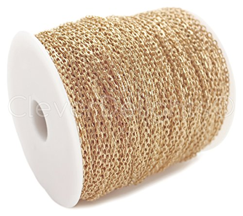 CleverDelights Cable Chain Spool - 330 Feet - Champagne Gold Color - 2x3mm Link - 100 Meters - Bulk Chain