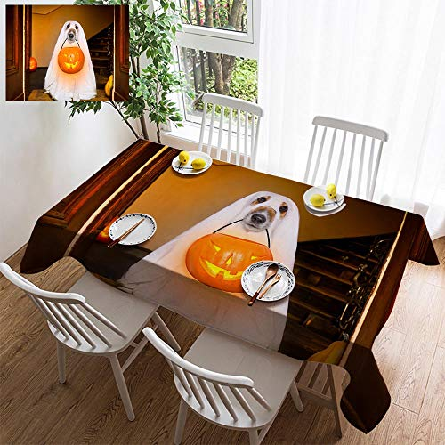 HOOMORE Simple Color Cotton Linen Tablecloth,Washable, Halloween Ghost Dog Trick or Treat Decorating Restaurant - Kitchen School Coffee Shop Rectangular 54×35in