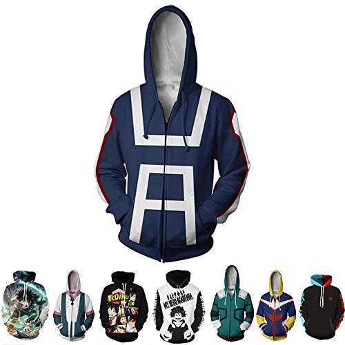 Hero Factory Halloween Costumes (Novel Costume My Hero Academia Boku No Hero Academia Izuku Midoriya Cosplay Costume Hoodie Jacket Unisex (Bule,)