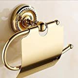 SSBY European copper white gold ceramic cover toilet tissue holder toilet roll paper tray