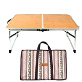 Bed Table,Sundlight Foldable Laptop Table Bamboo Board and Aluminum Alloy Small Camping Table for Indoor Study,Outdoor Picnic,Barbecue,Travel