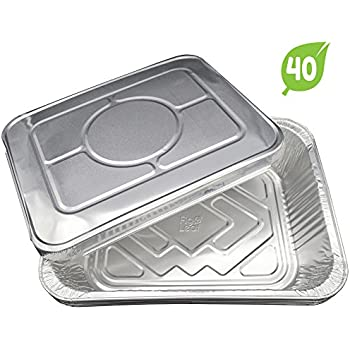 """(40 Pack) Aluminum Disposable Half Size Deep Chafing Pans with Lids l Size 9"""" x 13"""" Premium Foil Steam Pan Oven-Safe Durable Sturdy To-Go l Top Choice for Roasting Potluck Catering Party BBQ Broiling"""