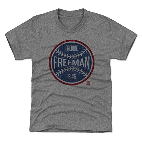 500 LEVEL Atlanta Braves Youth Shirt - Kids Large (10-12Y) Tri Gray - Freddie Freeman Ball ()