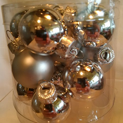Silver Christmas Matte Ornaments (Set of 15 Miniature Christmas Silver Ball Ornaments, Shiny and Matte Finish Ornament Balls Christmas Balls)