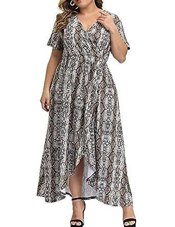 Allegrace Women Plus Size Maxi Dresses Snakeskin Wrap V Neck Summer Casual Flowy Long Dress - Yellow - 1X Plus