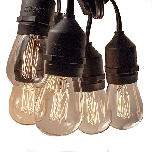 E26 Outdoor Commercial String Lights with Suspended Socket for Weatherproof Heavy Duty Vintage Outside Lighting (100 Foot 50 Socket, S14 Lantern Edison 11 Watt Bulbs) ()