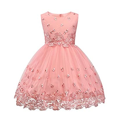 Ruffles Lace Bow Flower Tulle Princess Formal Wedding Birthday Party Dress for Toddler Baby Girl