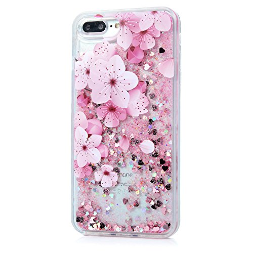 iPhone 7 Plus Case, Liquid Glitter Case Bling Shiny Sparkle Flowing Moving Love Hearts Cover Clear Ultral Slim Protective TPU Bumper Shockproof Drop Resistant Protective Case for iPhone 8 Plus KASOS by KASOS (Image #2)