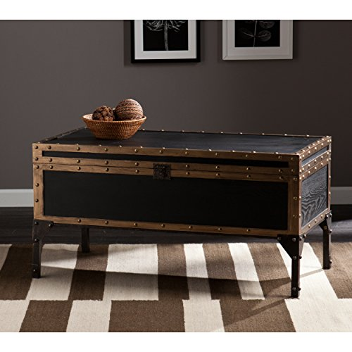 Southern Enterprises Drifton Travel Storage Trunk Cocktail Table, Antique Black Finish with Dark Bronze Accents