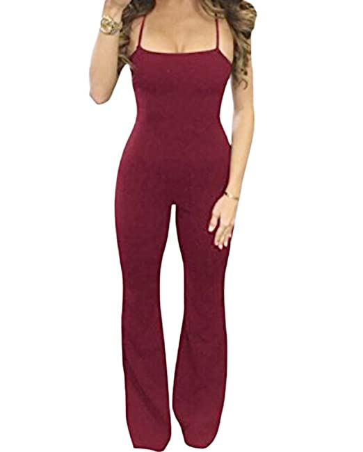 769ddeb58112 Amazon.com  Faithtur Women s Strappy Sleeveless Backless Wide Leg ...