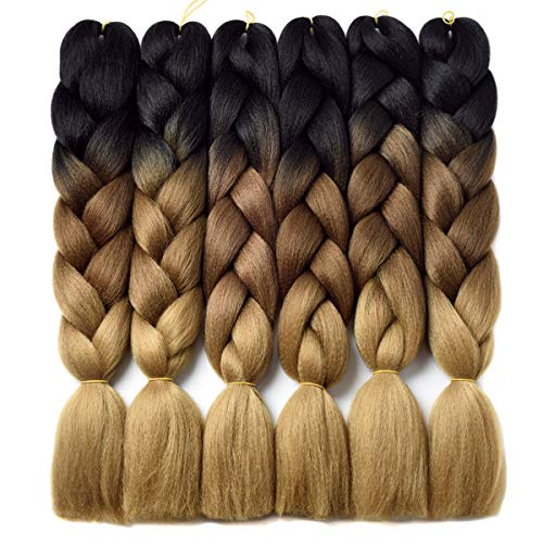 Ombre Braiding Hair Kanekalon Braiding Hair Synthetic Hair Extensions for Braiding Crochet Twist Box Braids 24 Inch 3 Tone Black to Dark Brown to Light Brown 6 Packs Jumbo Braiding Hair