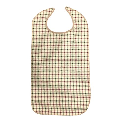 Adult Bib With Waterproof Vinyl Backing Washable 17x34 Beige Plaid (Snap Closure) Made in USA (12)