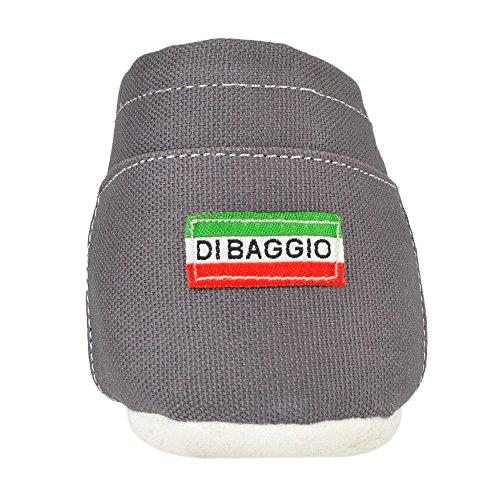 Di Baggio Herren Espadrille Leinenschuhe Strandschuhe Zum Hineinschlüpfen Grau