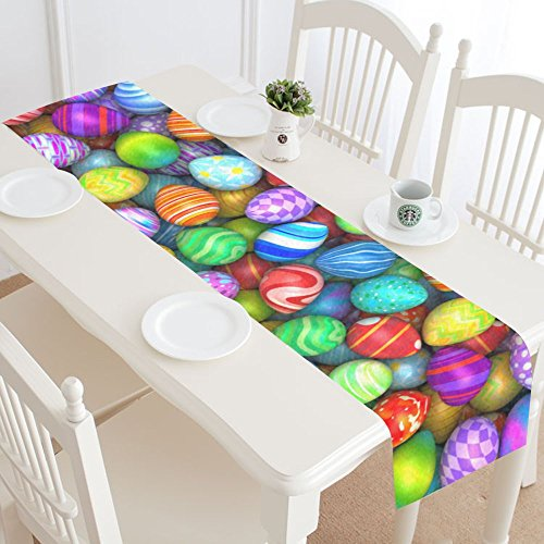 INTERESTPRINT Happy Easter Egg Table Runner Home Decor 14 X 72 Inch,Spring Easter Table Cloth Runner for Wedding Party Banquet Decoration ()