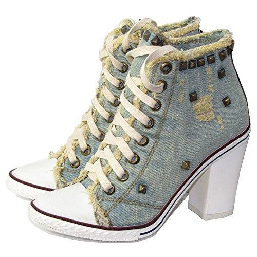 C Ankle Retro Women's Canvas Heel Lace Bootie up Rivet Jean Sneakers fereshte High v4gwFOnqq